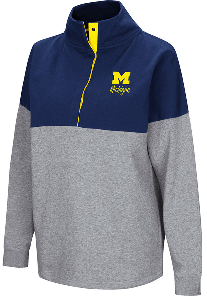 Colosseum Michigan Wolverines Womens Navy Blue Breakthrough 1/4 Zip Pullover - Image 1