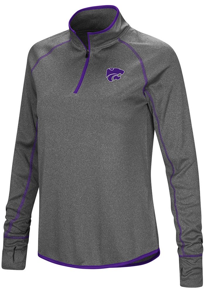 Colosseum K-State Wildcats Womens Shark Grey 1/4 Zip Pullover