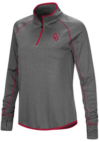 Oklahoma Sooners Womens Colosseum Shark 1/4 Zip - Charcoal