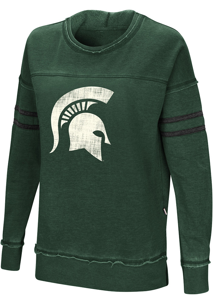 Colosseum Michigan State Spartans Womens Green Ambassador Crew Sweatshirt - Image 1