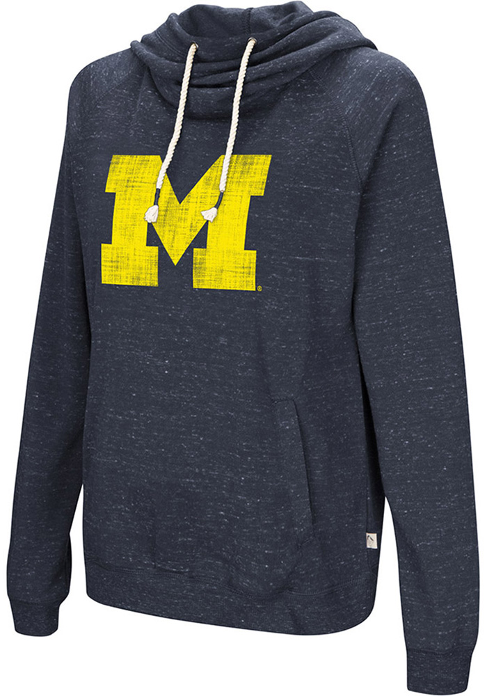 Colosseum Michigan Wolverines Womens Navy Blue I'll Go With Hooded Sweatshirt - Image 1