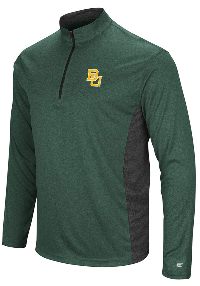 Colosseum Baylor Bears Mens Green Audible Long Sleeve 1/4 Zip Pullover - Image 1