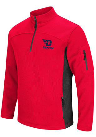 Colosseum Dayton Flyers Mens Red Advantage 1/4 Zip Pullover