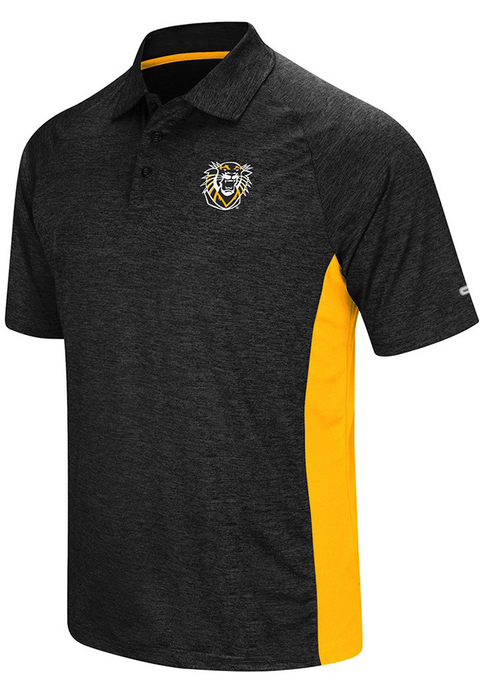 Colosseum Fort Hays State Tigers Mens Black Wedge Short Sleeve Polo - Image 1