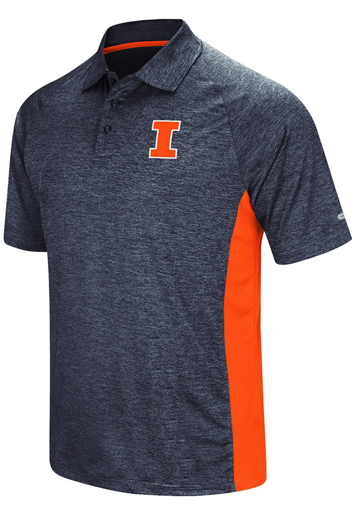 Colosseum Illinois Fighting Illini Mens Navy Blue Wedge Short Sleeve Polo - Image 1