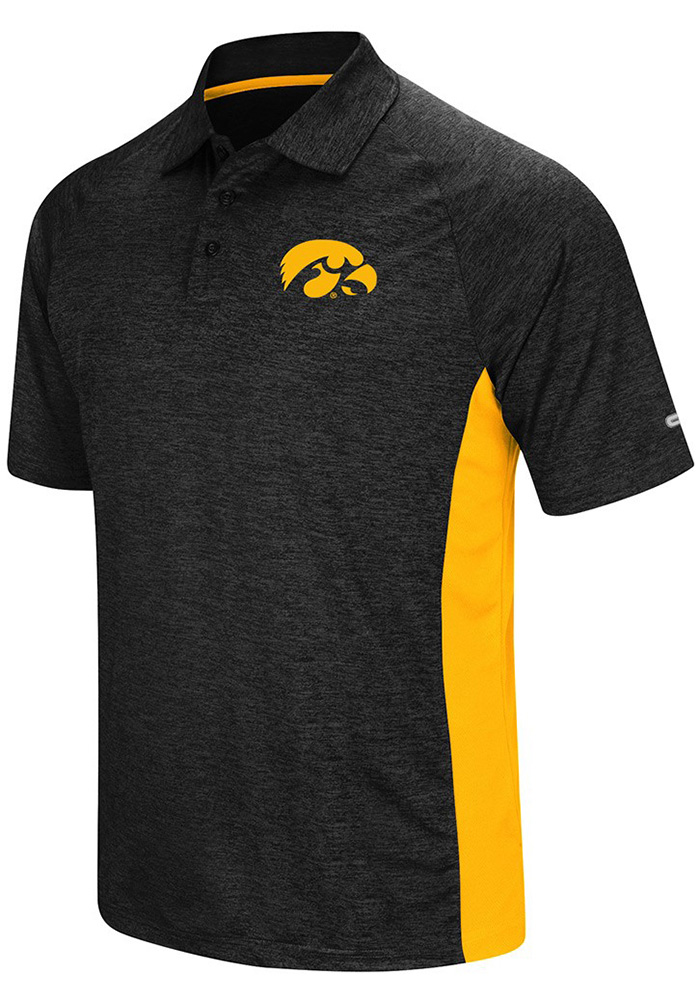 Colosseum Iowa Hawkeyes Mens Black Wedge Short Sleeve Polo - Image 1