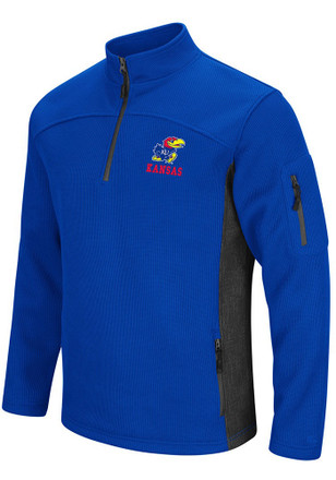 Colosseum Kansas Jayhawks Mens Blue Advantage 1/4 Zip Pullover