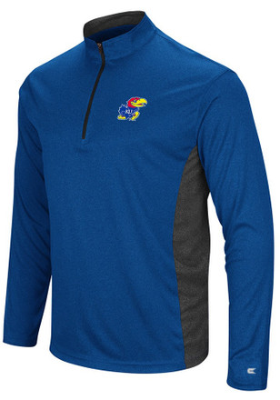Colosseum Kansas Jayhawks Mens Blue Audible 1/4 Zip Pullover