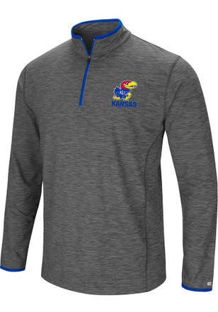 Colosseum Kansas Jayhawks Mens Grey Diemert 1/4 Zip Pullover