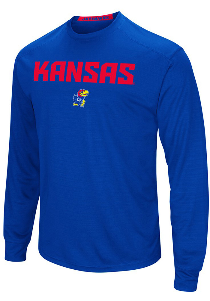 Colosseum Kansas Jayhawks Blue Setter Long Sleeve T-Shirt - Image 1
