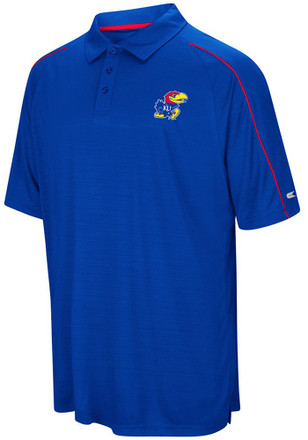 Colosseum Kansas Jayhawks Mens Blue Setter Short Sleeve Polo Shirt
