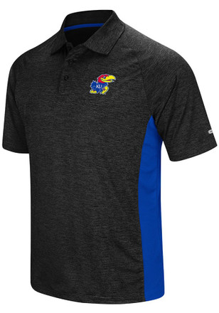 Colosseum Kansas Jayhawks Mens Black Wedge Short Sleeve Polo Shirt