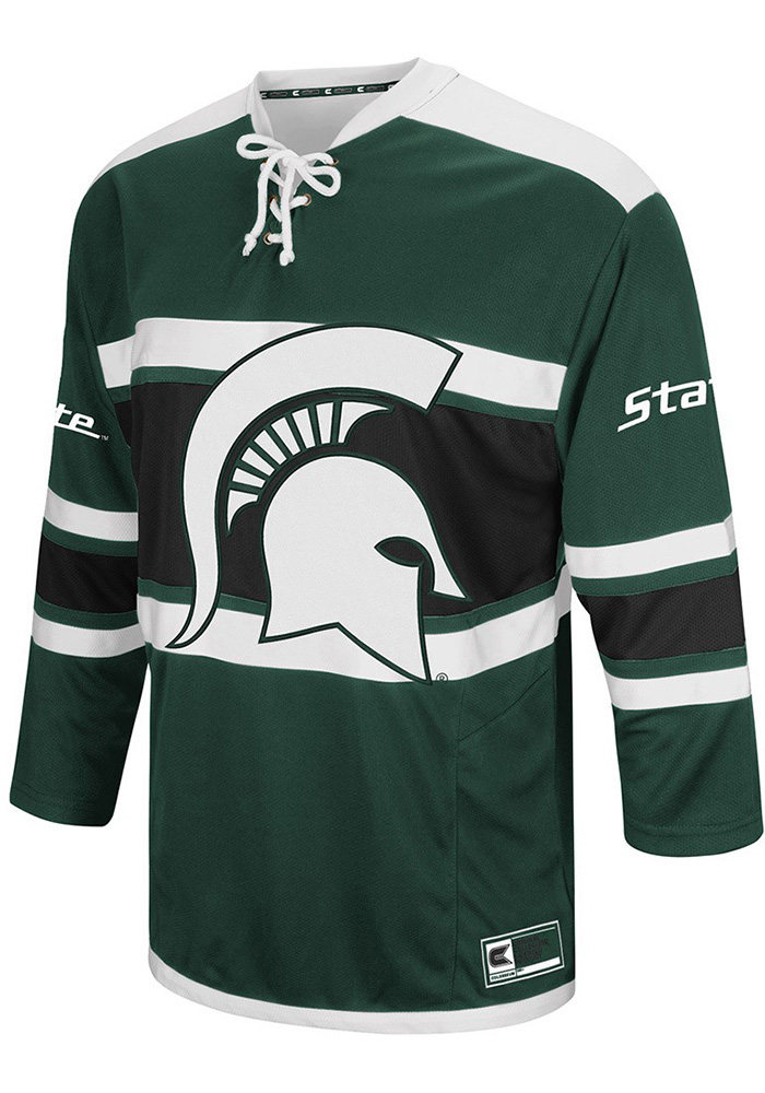 michigan state spartans mens green open net hockey jersey image 1