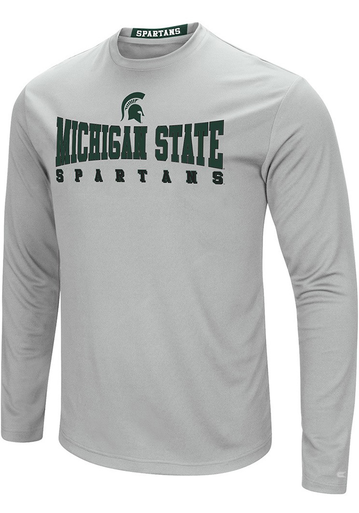 Colosseum Michigan State Spartans Grey Streamer Long Sleeve T-Shirt - Image 1