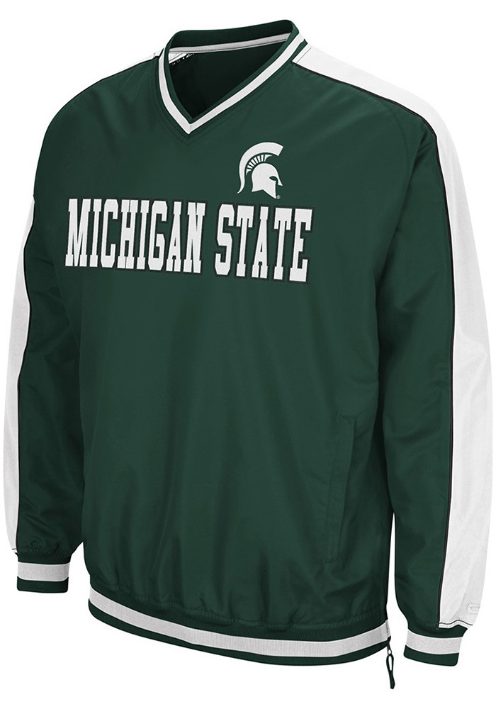 Colosseum Michigan State Spartans Mens Green Attack Pullover Jackets - Image 1