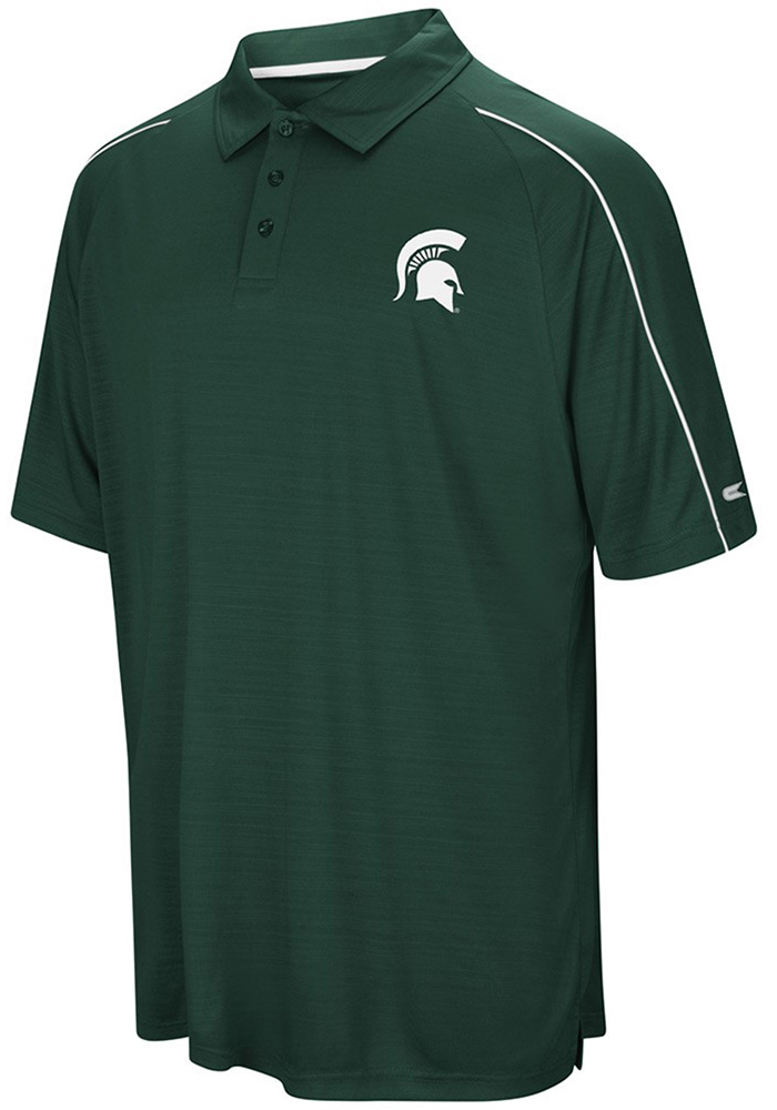 Colosseum Michigan State Spartans Mens Green Setter Short Sleeve Polo - Image 1