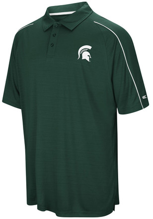 Colosseum Michigan State Spartans Mens Green Setter Short Sleeve Polo Shirt