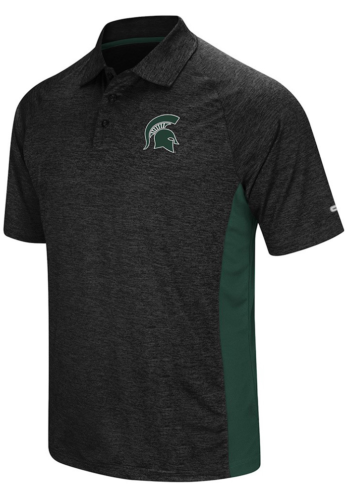 Colosseum Michigan State Spartans Mens Black Wedge Short Sleeve Polo - Image 1