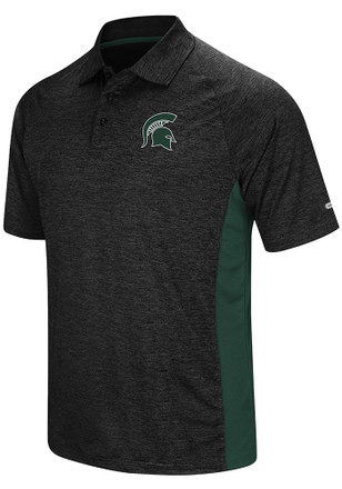 Colosseum Michigan State Spartans Mens Black Wedge Short Sleeve Polo Shirt