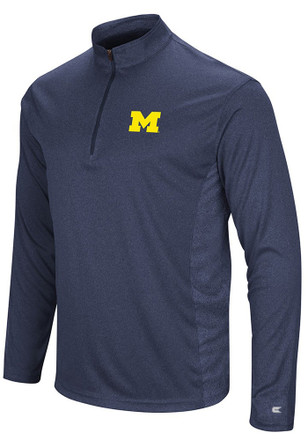 Colosseum Michigan Wolverines Mens Navy Blue Audible 1/4 Zip Pullover