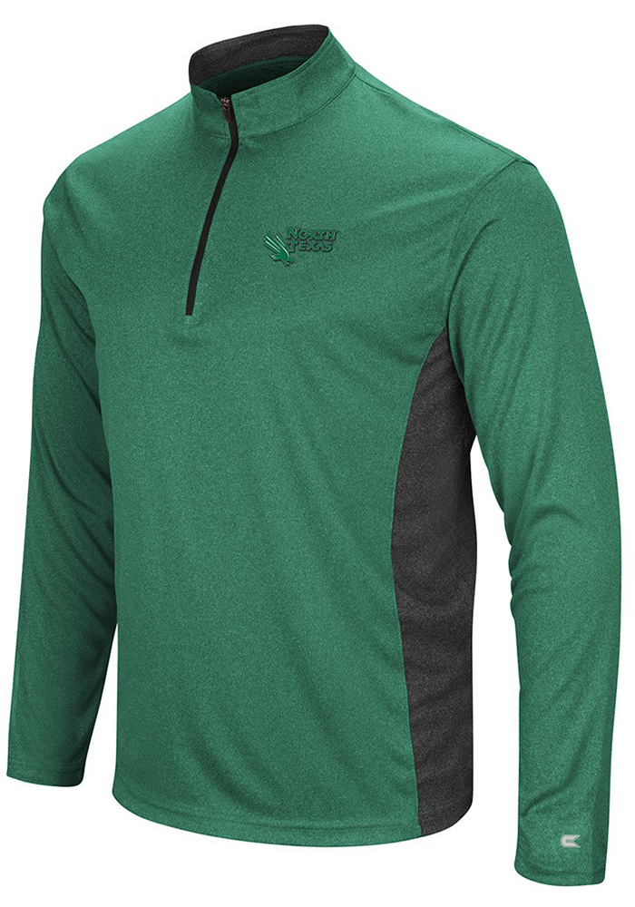 Colosseum North Texas Mean Green Mens Green Audible Long Sleeve 1/4 Zip Pullover - Image 1