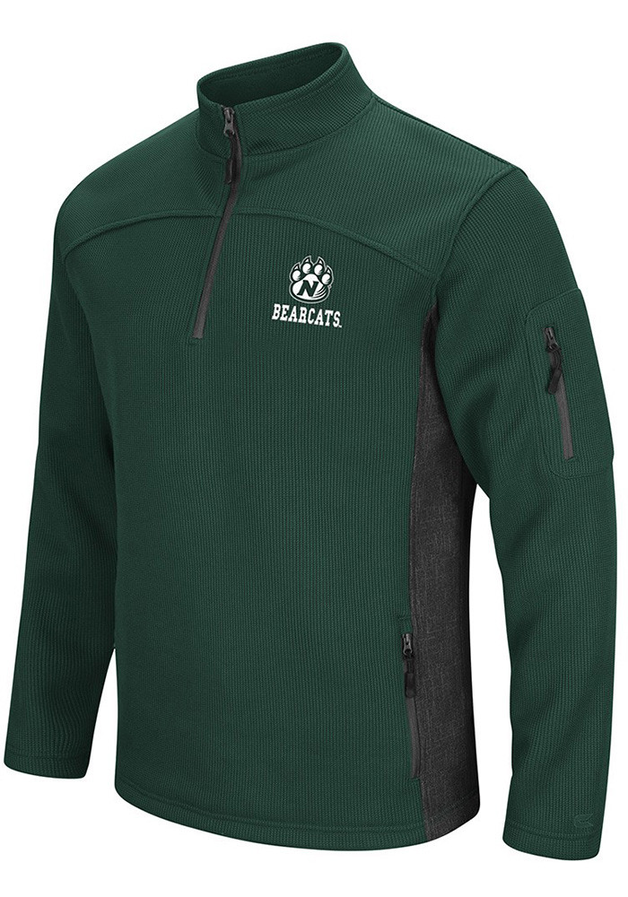 Colosseum Northwest Missouri State Bearcats Mens Green Advantage Long Sleeve 1/4 Zip Pullover - Image 1