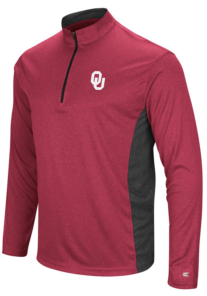 Colosseum Oklahoma Sooners Mens Crimson Audible Long Sleeve 1/4 Zip Pullover - Image 1