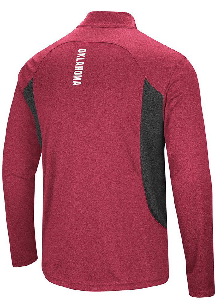 Colosseum Oklahoma Sooners Mens Crimson Audible Long Sleeve 1/4 Zip Pullover - Image 2