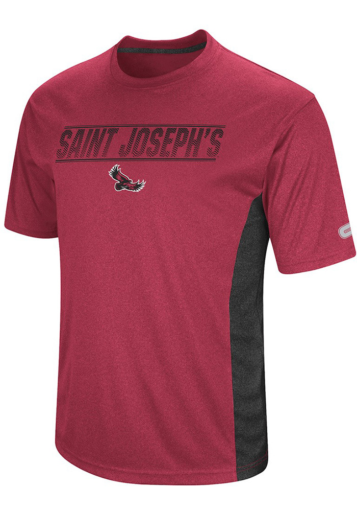 Colosseum Saint Josephs Hawks Maroon Beamer Short Sleeve T Shirt - Image 1