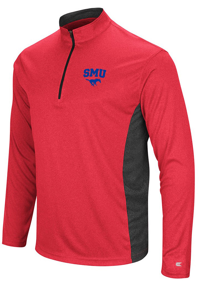 Colosseum SMU Mustangs Mens Red Audible Long Sleeve 1/4 Zip Pullover - Image 1