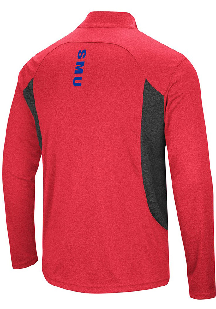Colosseum SMU Mustangs Mens Red Audible Long Sleeve 1/4 Zip Pullover - Image 2