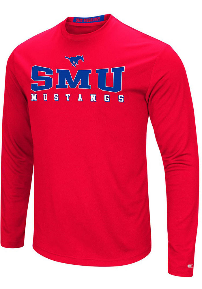 Colosseum SMU Mustangs Mens Red Streamer Long Sleeve T-Shirt - Image 1