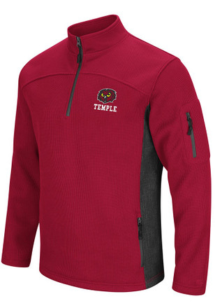 Colosseum Temple Owls Mens Red Advantage 1/4 Zip Pullover