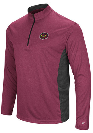 Colosseum Temple Owls Mens Red Audible 1/4 Zip Pullover