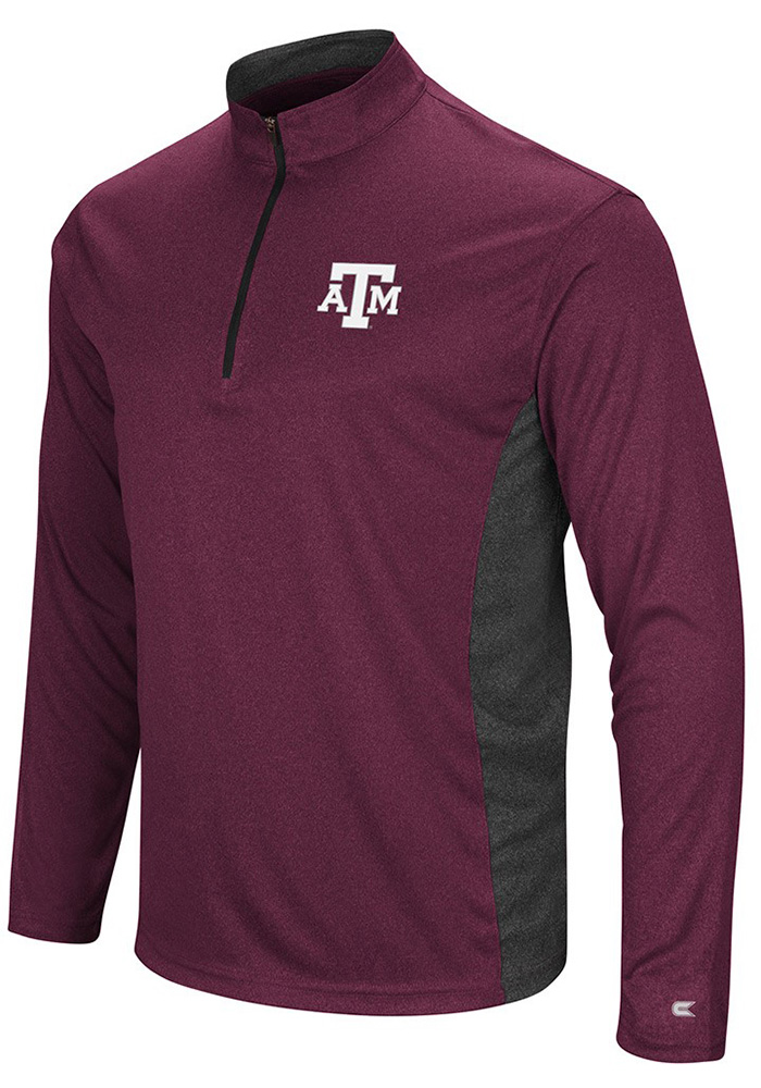 Colosseum Texas A&M Aggies Mens Maroon Audible Long Sleeve 1/4 Zip Pullover - Image 1