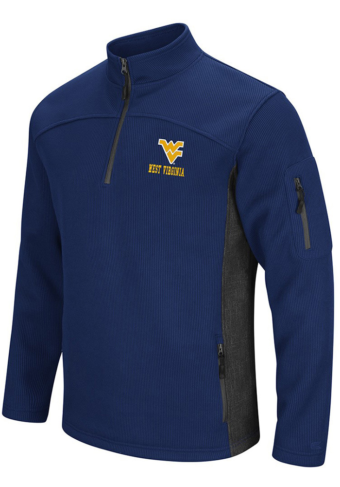 Colosseum West Virginia Mountaineers Mens Navy Blue Advantage Long Sleeve 1/4 Zip Pullover - Image 1