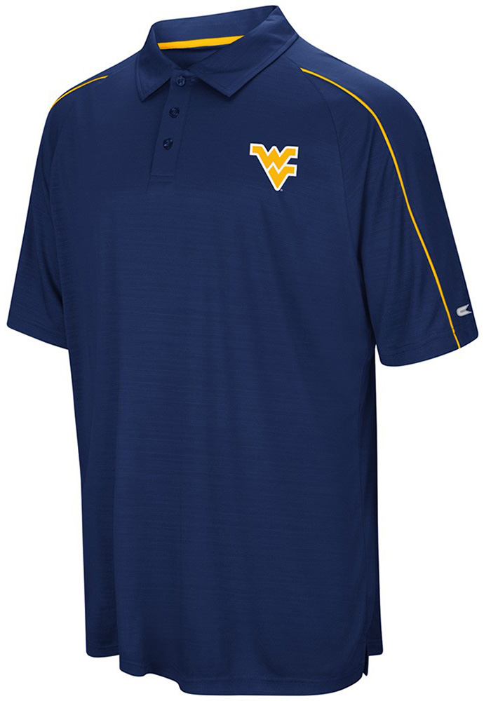 Colosseum West Virginia Mountaineers Mens Navy Blue Setter Short Sleeve Polo - Image 1