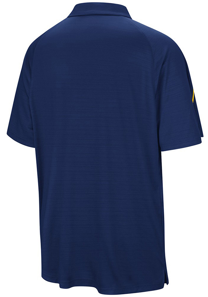 Colosseum West Virginia Mountaineers Mens Navy Blue Setter Short Sleeve Polo - Image 4