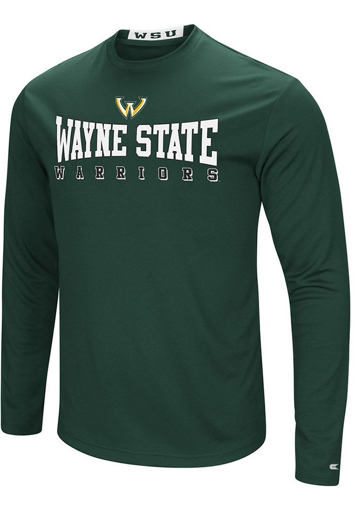 Colosseum Wayne State Warriors Green Streamer Long Sleeve T-Shirt - Image 1