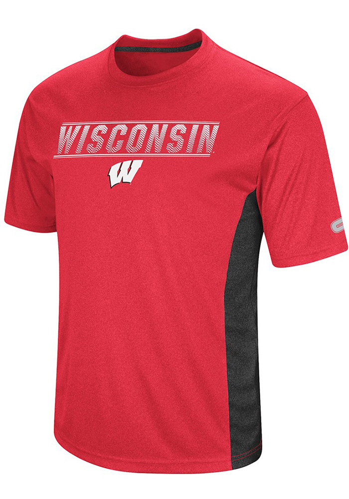 Colosseum Wisconsin Badgers Red Beamer Short Sleeve T Shirt - Image 1
