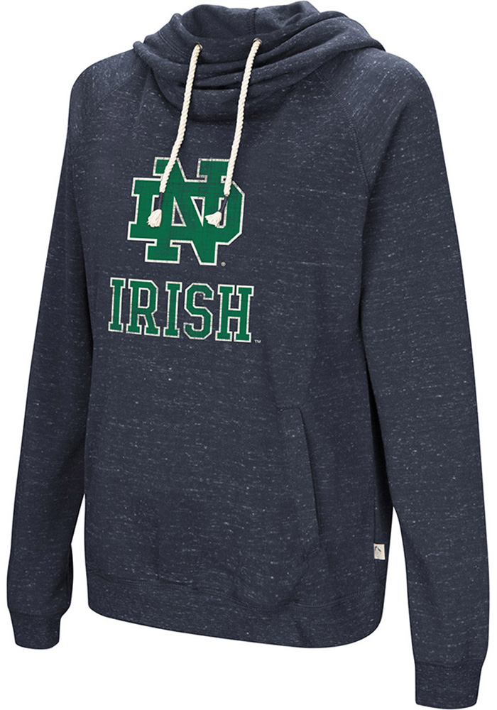 Colosseum Notre Dame Fighting Irish Womens Navy Blue I'll Go With Hooded Sweatshirt - Image 1