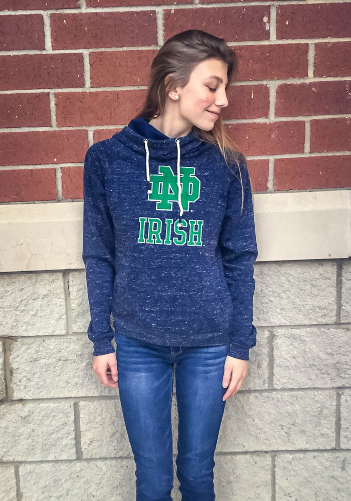 Colosseum Notre Dame Fighting Irish Womens Navy Blue I'll Go With Hooded Sweatshirt - Image 2