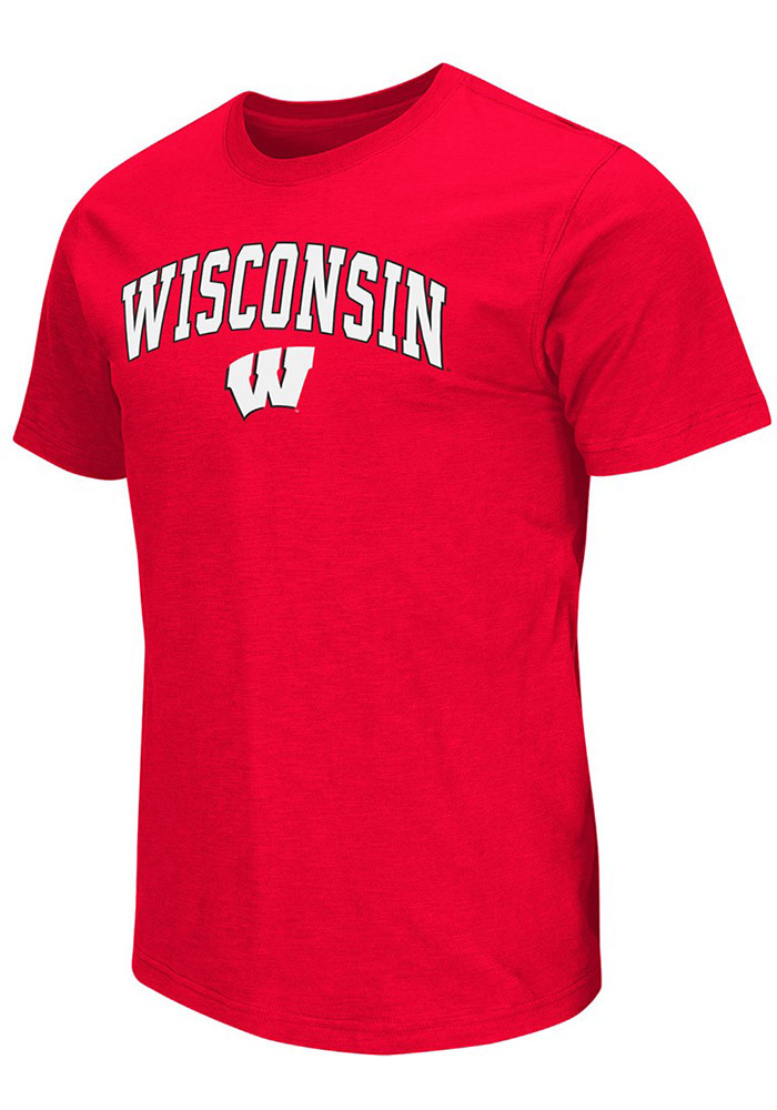 Colosseum Wisconsin Badgers Red Mason Short Sleeve T Shirt - Image 1