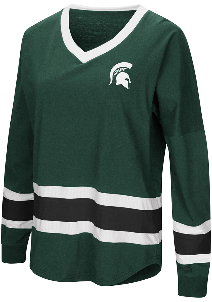 Colosseum Michigan State Spartans Womens Green Marquee LS Tee - Image 1