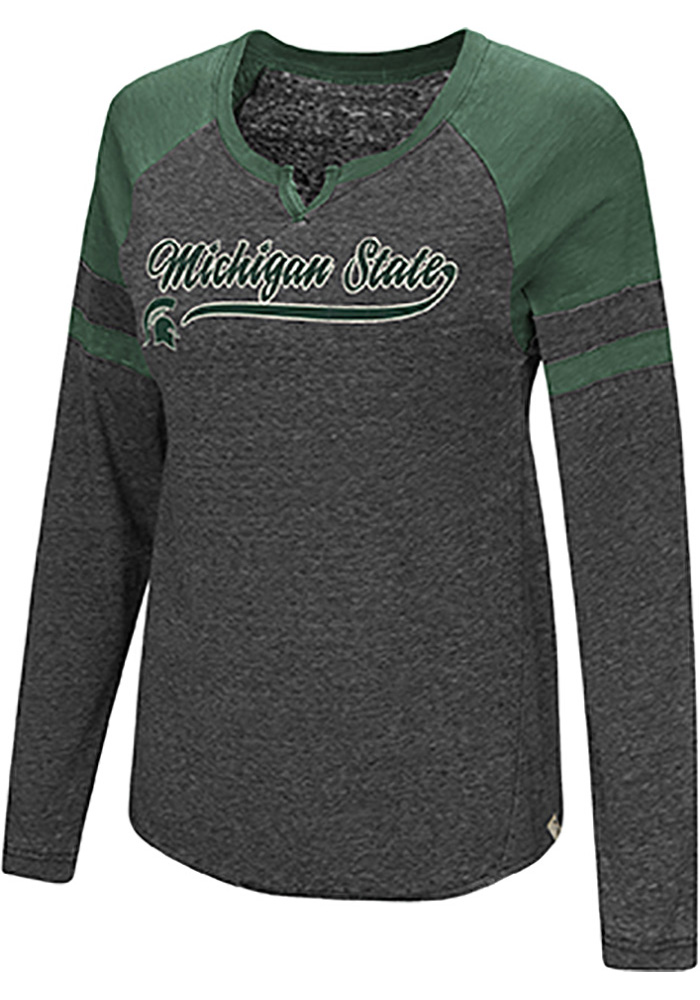 Colosseum Michigan State Spartans Womens Green Bubbilicious LS Tee - Image 1