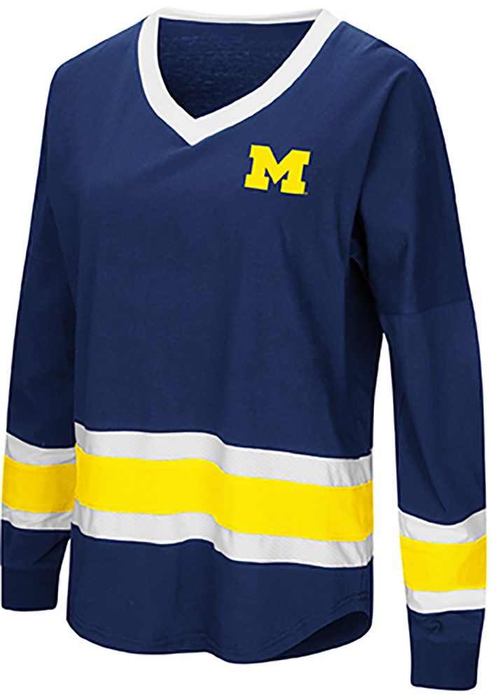 Colosseum Michigan Wolverines Womens Navy Blue Marquee LS Tee - Image 1