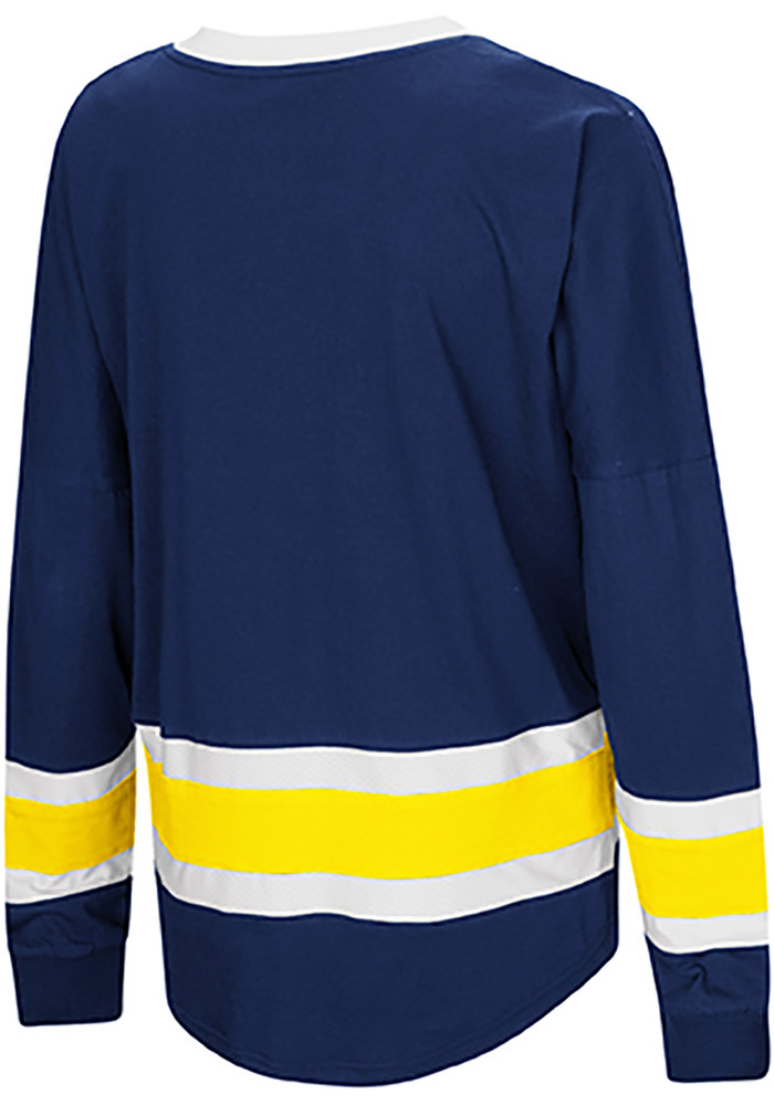 Colosseum Michigan Wolverines Womens Navy Blue Marquee LS Tee - Image 2