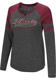 Colosseum Temple Owls Womens Bubbilicious Red LS Tee
