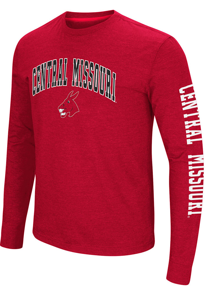Colosseum Central Missouri Mules Red Jackson Long Sleeve T Shirt - Image 1