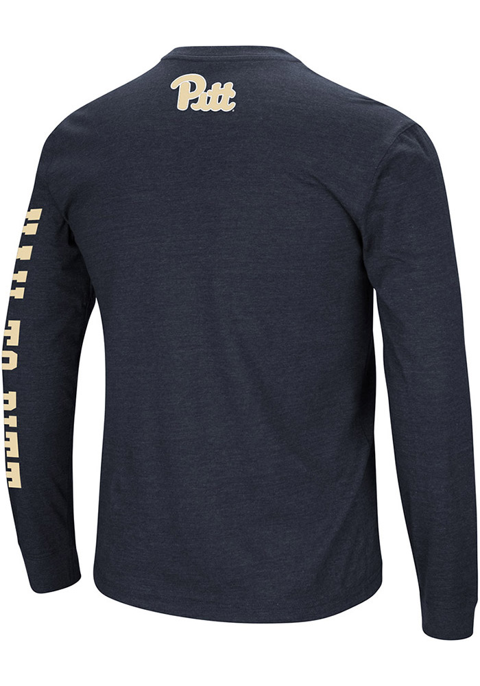 Colosseum Pitt Panthers Navy Blue Jackson Long Sleeve T Shirt - Image 2